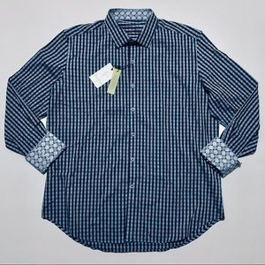 Robert Graham Button Front Sport Shirt Mens Blue L
